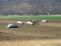 Potato trucks follow harvesters in a field on the Running Y Ranch in the Klamath Basin.