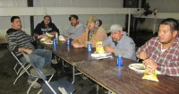 Felimon Acosta and the shed crew enjoying lunch at the 2014 Christmas luncheon held by Gold Dust and Walker Bros.