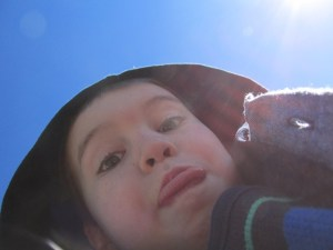Walker Crawford, 6, takes a picture of himself.