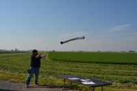 John Faus of Honeycomb Corp. launching a drone outside of Malin, Oregon, during Gold Dust's 2015 Open House Field Day. Photo by Chelsea Shearer.