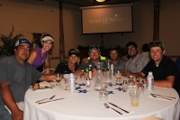 Mike Carpenter, Lexi Crawford, Destiny Huffman, Drew Huffman, Matt Thompson, Sachin Rawat and Chance McAuliffe enjoy dinner at Reames Golf and Country Club during Gold Dust's 2016 Open House Field Day.
