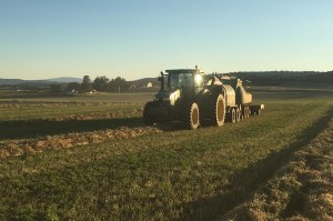 Baling alfalfa hay near Malin, Oregon.