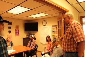 Gold Dust Potato Processors CEO Bill Walker addressing Klamath Community College students in the conference room of Gold Dust's Malin, Oregon packing shed.