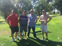 Second place team Billy Conrad, Marc Staunton, Weston Walker and Jeremiah McElligot for Gold Dust and Walker Brothers' Open House Field Day at Reames' Country Club golf course.