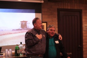 Weston Walker thanking long-time employee Salvador Vera at the Gold Dust and Walker Farms 2017 Leadership Dinner.