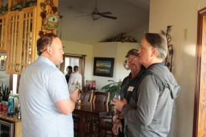 Weston Walker and Rob Unruh visiting with Jaap Langenberg at Bill and Jan Walker's house outside Malin, OR.