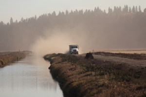 A potato truck headed to a field on the Caledonia Farm near Klamath Falls, Oregon.