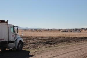 A potato truck sits in a potato field in Modoc County, California.