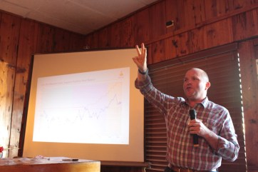 Jeff Gibson of Rabobank talking about the ag economy at Mike & Wanda's restaurant in Tulelake, California.