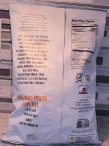 Back label of Farm Hand Project Rose Fingerling Potato Chips