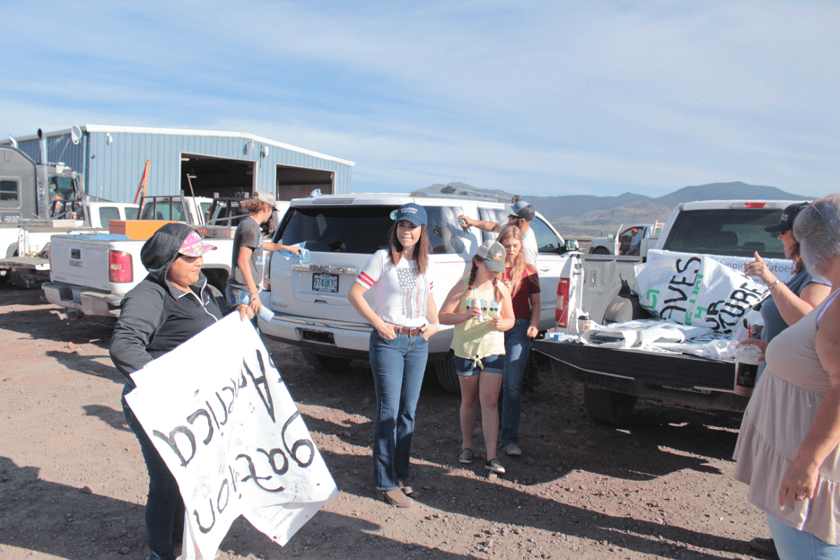 Gold Dust & Walker Farms employees getting ready to decorate for Shut Down & Fed Up's Convoy For Change tractor rally