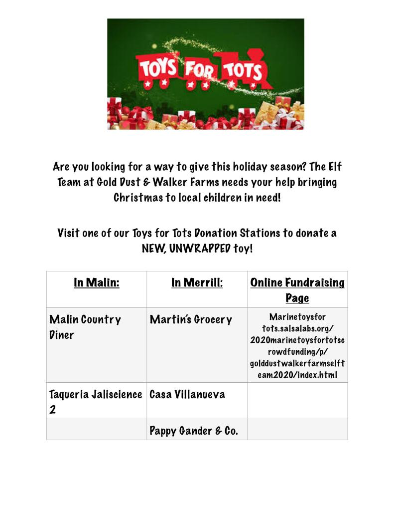 GDWF Toys For Tots Donation Stations