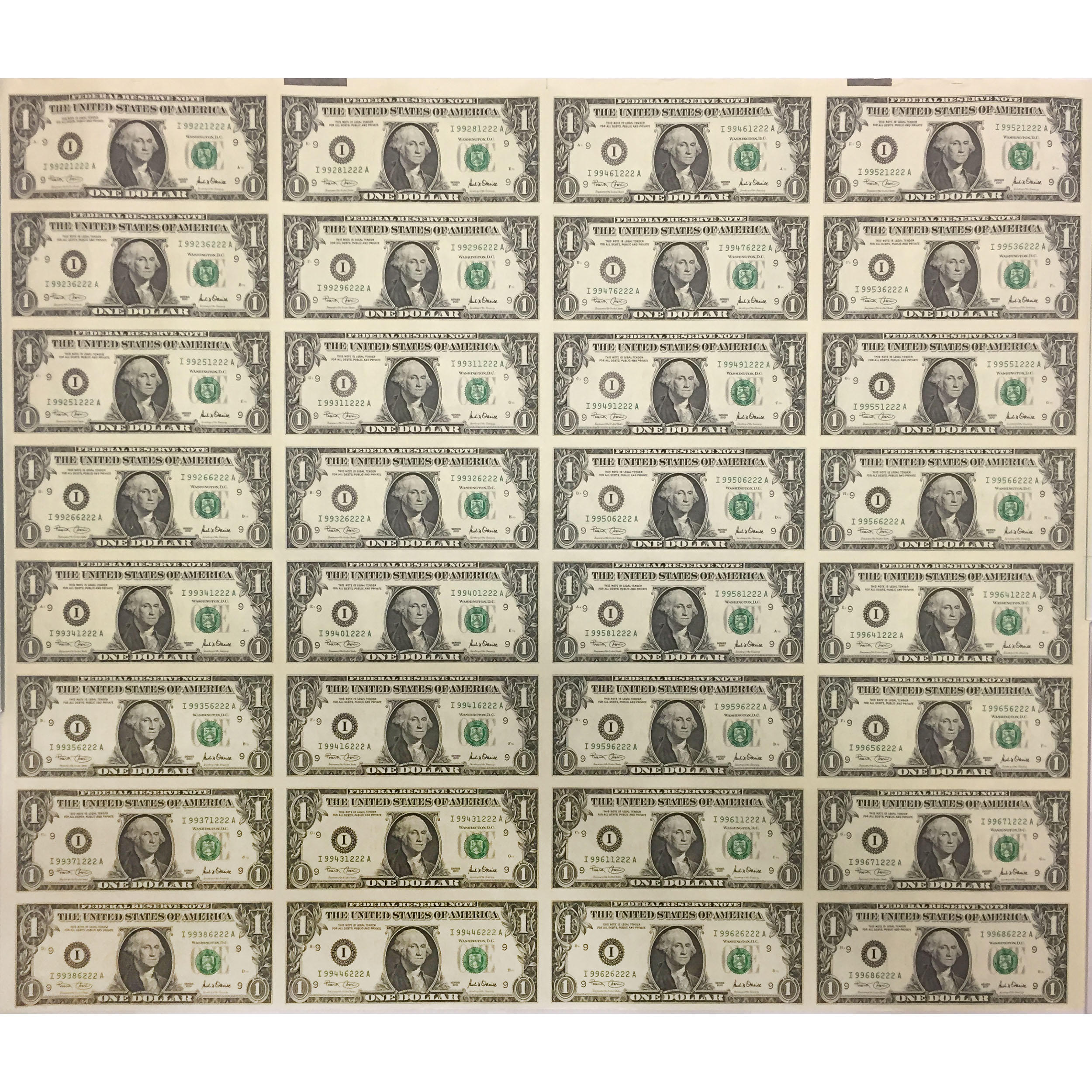 Uncut Currency Sheet 32 X 1 Unc