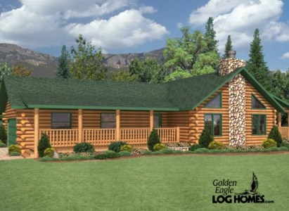 Golden Eagle Log and Timber Homes  Floor Plan Details  Countryside II Countryside II Floor Plan   Rendering