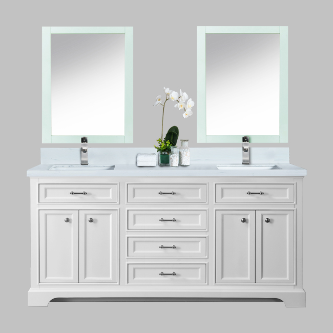 72 milan white with double sink carrera marble countertop