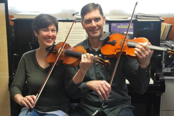 Fiddle instructors Trish and Geoff Horrocks are recipients of this year's Honour in Culture Award. (Josef Jacobson/The News Bulletin)