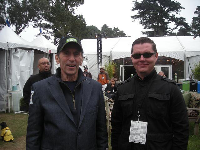 Warren Hellman and Will White pose at Hardly Strictly Bluegrass Festival.