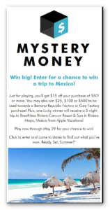 Banana Republic Mystery Money Sweepstakes Instant Win Game