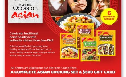"SUN-BIRD® SEASONINGS ""Make the Occasion Asian"" 2017 ASIAN HOLIDAY SWEEPSTAKES"