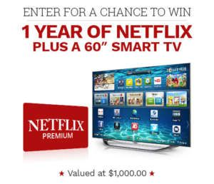 """Win 1 Year if Netflix and a 60"""" Smart TV"""