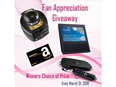 Win your Choice of Prize in the Fan Appreciation Giveaway - Ends March 31st