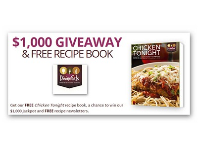Divine Eats $1,000 Giveaway and Free Recipe Book - Ends March 31st