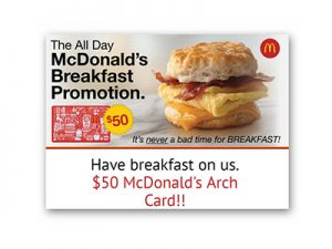 Win a $50 McDonald's Arch Card