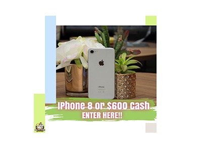 Win an iPhone 8 or $600 Cash Giveaway