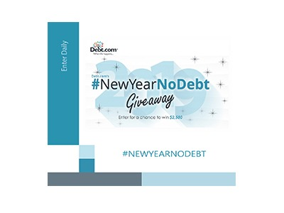 New Year No Debt Giveaway  One lucky person will #win $2,500 from Debt.com