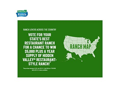 Hidden Valley Ranch $5,000 Sweepstakes