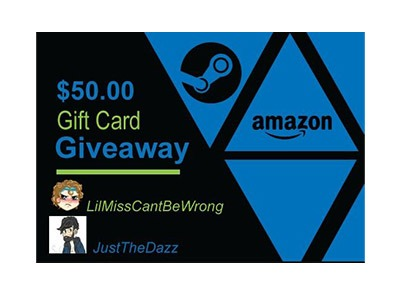 Win a $50 Amazon or Steam Gift Card Giveaway