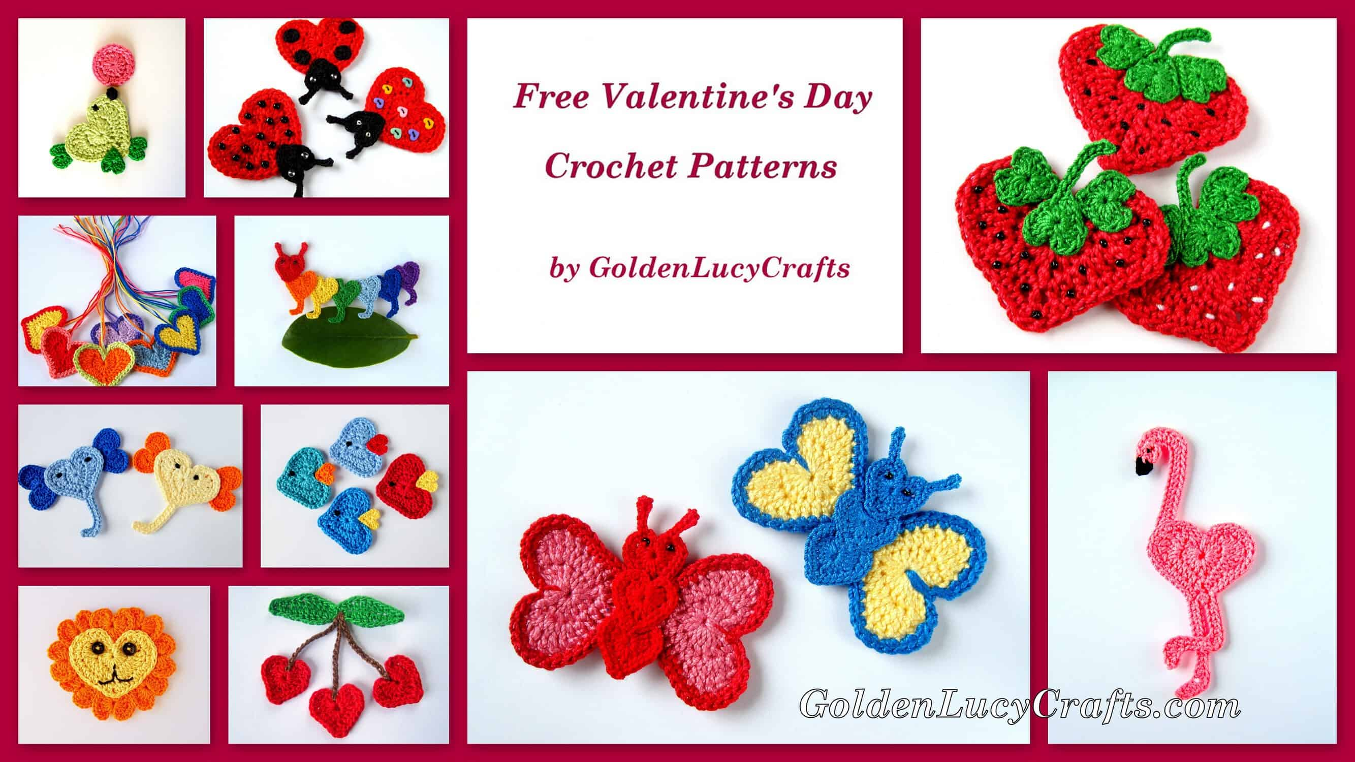 Free Crochet Patterns Valentine S Day Appliques Hearts