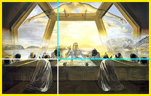 The Last Sacrament by Salvador Dali uses phi, the golden proportion, in its composition as did Leonardo Da Vinci in The Last Supper