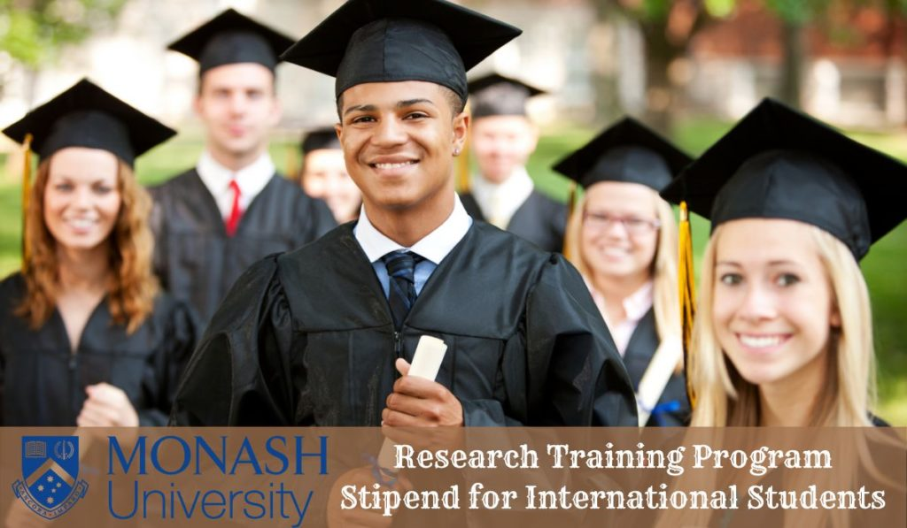 Monash Research Training Programme Stipend for International Students in Australia, 2020