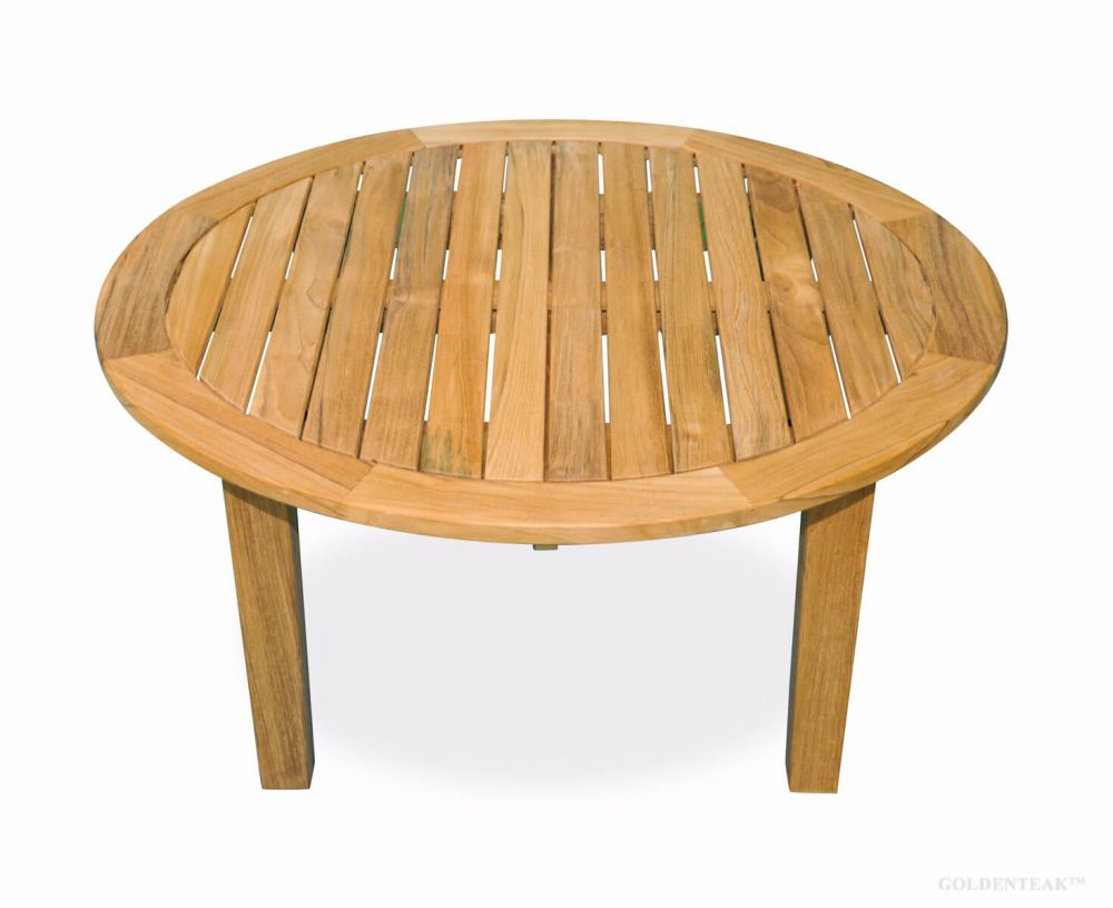 teak round coffee table 36 inch dia 17 in h