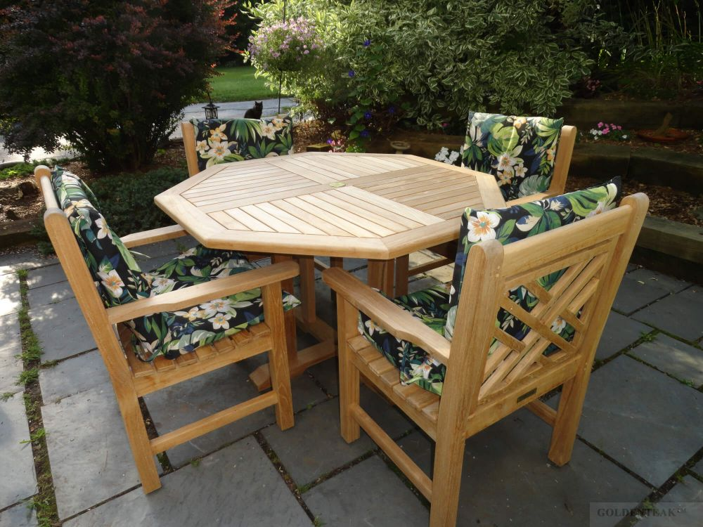 teak dining set octagon table 48 inch 4 chippendale dining chairs