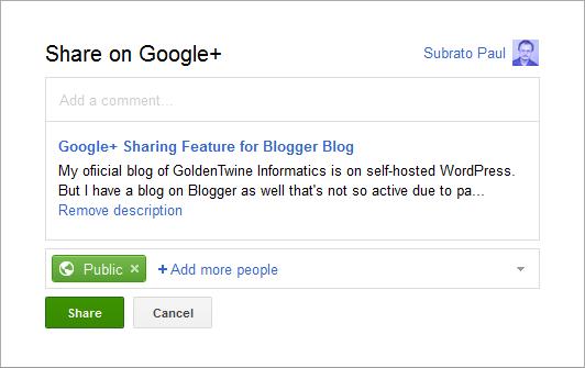 Google+ Share Box on Blogger