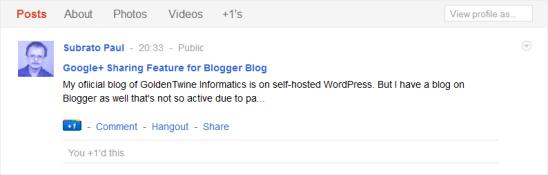 Blogger Post Shared on Google+