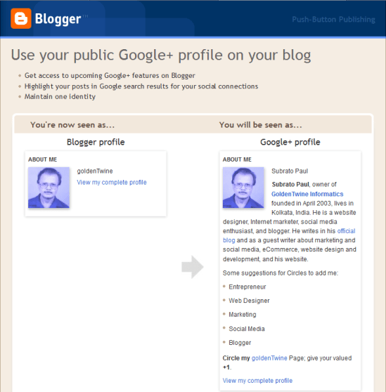 Replace Blogger Profile with Google+ Profile