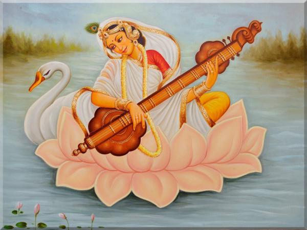 Painting depicting Goddess Saraswati wearing sari seated on lotus