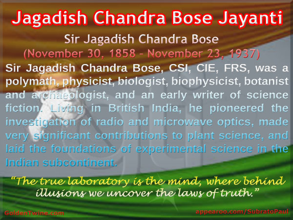 Tribute to Sir Jagadish Chandra Bose on his 158th Birth Anniversary