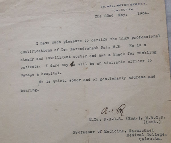 Dr Bidhan Chandra Roy Recommendation Letter