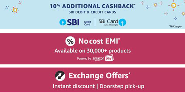 Cash Back, No cost EMI and Exchange Offers