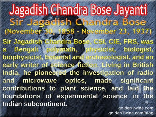 Birth Anniversary of Jagadish Chandra Bose