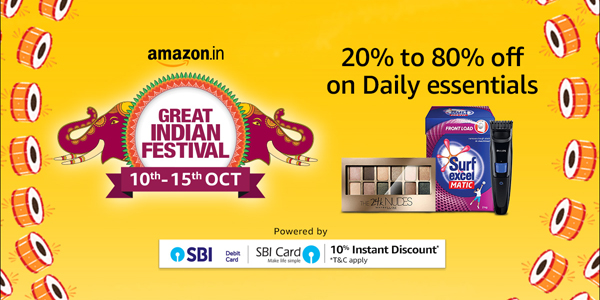 Amazon Great Indian Festival 10 to 15 October 2018 - Daily Essentials