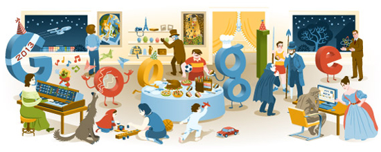 New Year's Eve 2012 Google Doodle