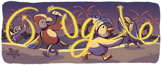 New Year's Eve 2017 Google Doodle