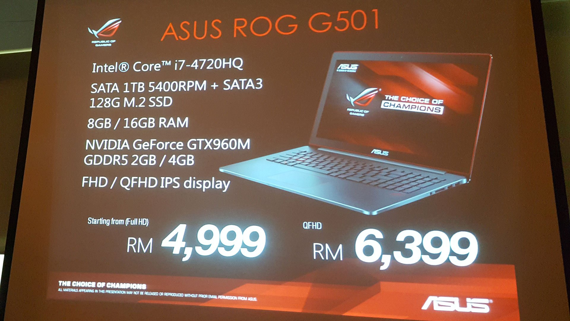 ASUS Malaysia Introduces The ROG G501 G751 And GL552