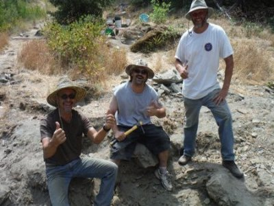 """We started calling these guys the """"Alpha Team"""" after they moved some boulders and uncovered the ancient streambed material that is under their feet."""