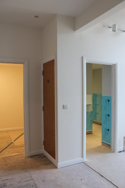 The new cloakroom is on the left